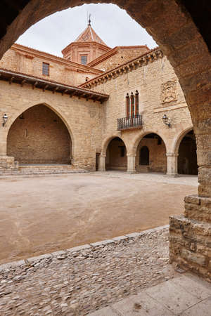 stoned: Picturesque stoned arcaded square in Spain. Cantavieja, Teruel. Spanish heritage Stock Photo