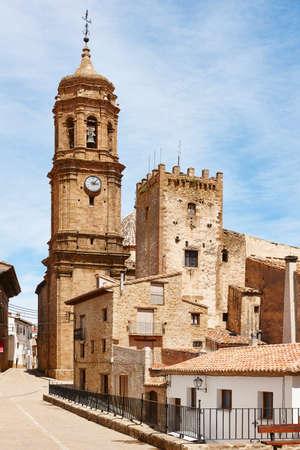 cid: Picturesque village in Spain. Iglesuela del Cid, Teruel. Tourism. Architecture