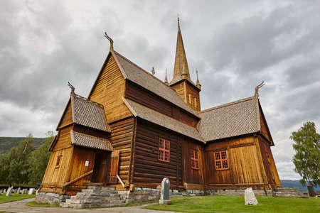 Lom medieval stave church Viking symbol. Norwegian heritage. Horizontal Stock fotó