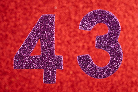 Number forty-three purple color over a red background. Anniversary. Horizontal