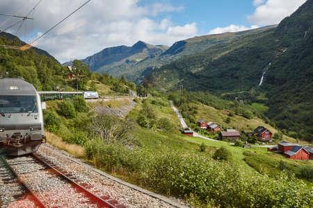 Flam railway landscape. Norwegian tourism highlight. Norway landmark. Horizontal Reklamní fotografie