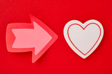Health care background with heart and arrow signals. Valentine day Stock Photo