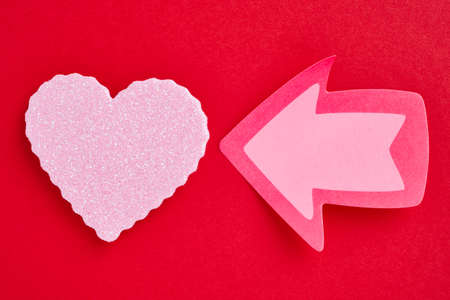 Health care background with heart and arrow signal. Valentine day Stock Photo