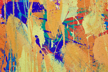blue green background: Multicolored vivid and textured gouache abstract background. Horizontal Stock Photo