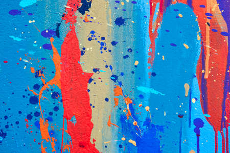 Multicolored vivid and textured gouache abstract background. Horizontal 免版税图像