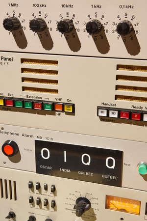 Submarine old radio transmitter equipment detail. Military device. vertical Stock fotó