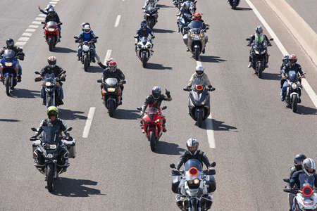 Motorcycle riders on the road. Transportation background. Fun