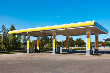 Empty petrol station. Energy and oil industry background. Nobody. Horizontal Editorial