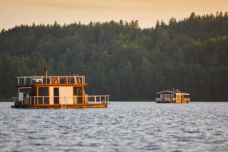 finnish bath: Sauna and spa cruise, Jyvaskyla city. Finland traditional lifestyle. Horizontal
