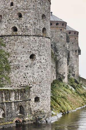 Savolinna castle fortress. Finland landmark. Finnish heritage. Vertical Stock Photo