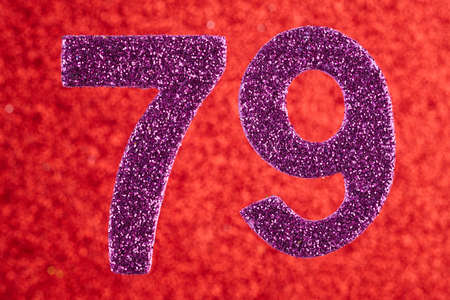 Number seventy-nine purple color over a red background. Anniversary. Birthday