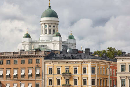 Helsinki city center skyline with Tuomiokirkko cathedral. Travel Finland. Horizontal