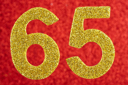 Number sixty-five yellow color over a red background. Anniversary. Horizontal