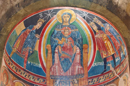 Santa Maria de Taull central apse detail. Romanesque art. Spain 에디토리얼