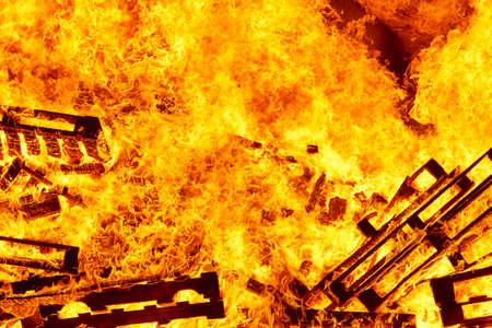 Fire flames on a bonfire. Fireman emergency. Danger combustion, emission Stock Photo - 107252557