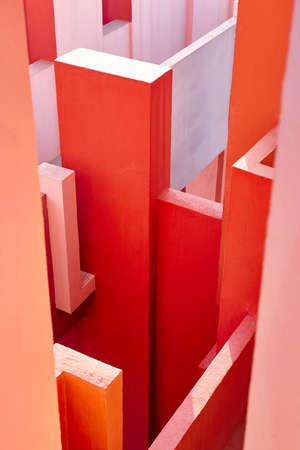 Geometric building design. The red wall, La manzanera. Calpe, Spain Editorial