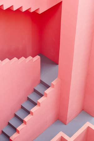 Geometric building detail. The red wall, La manzanera. Calpe, Spain Stock Photo