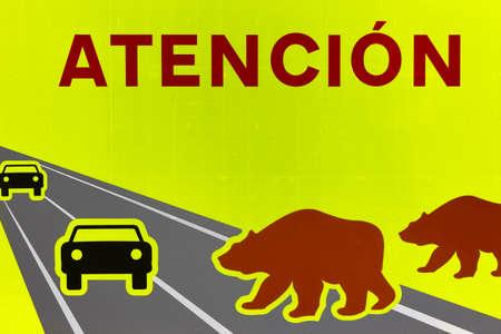 Bear road traffic signal. Endangered species alert. Warning. Spain 免版税图像