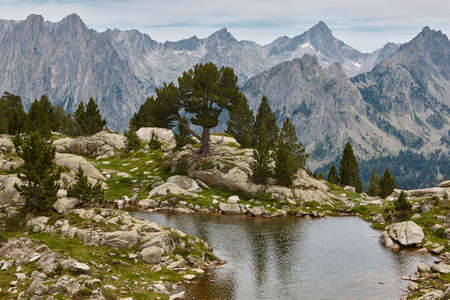 Aigues tortes national park mountain landscape. Estany dAmitges. Spain Stock Photo
