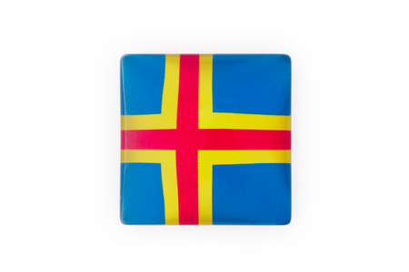 Aland islands magnet flag isolated on white. Finland heritage. Horizontal