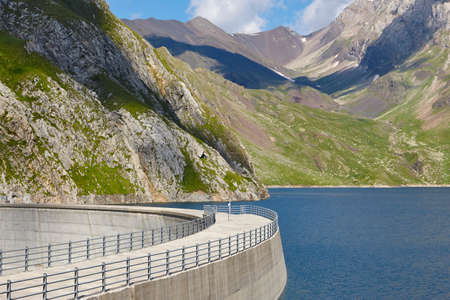 Llauset dam in Aragon. Hydroelectric energy power. Trekking route. Spain Stock Photo