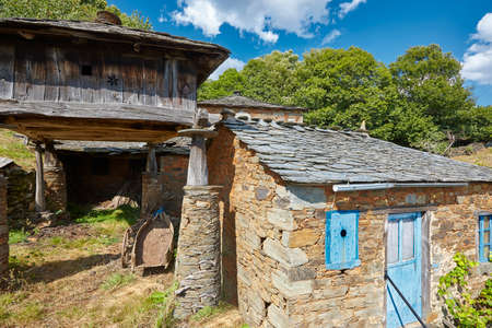 Traditional stone construction village with horreo storage in Asturias. Spain
