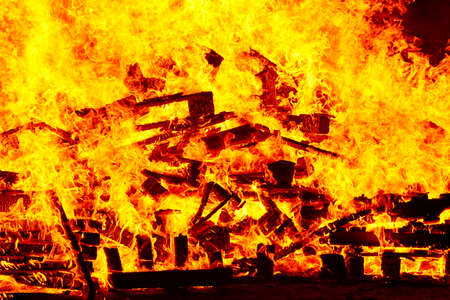 Fire flames on a bonfire. Fireman emergency. Danger combustion, emission Stock Photo