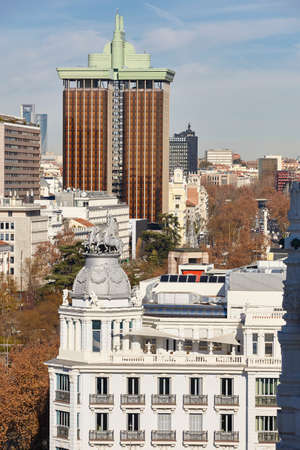 Madrid skyline city center. Downtown traditional buildings. Travel in Spain Stock Photo