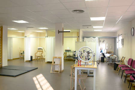 Physiotherapy equipped room. Rehabilitation treatment hospital area. Interior