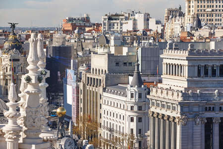 Madrid skyline city center. Downtown traditional buildings. Tourism in Spain
