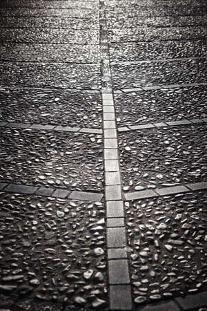 Stone pavement street detail in black and white. Vertical