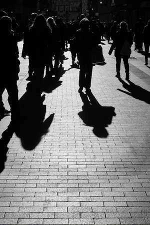 People on the street. Urban crowd in black and white