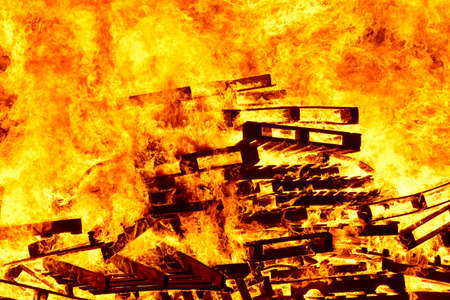 Burning fire. Bonfire. Fire fighting. Flame ignition. Warning. Danger Stock Photo