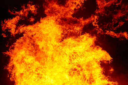 Burning fire. Bonfire. Fire fighting and flame ignition. Warning, danger Stock Photo