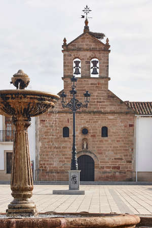 Traditional rural village in Spain with antique chapel. Guarroman, Jaen