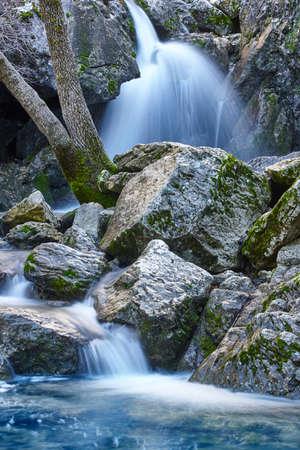 Waterfall in Spain. Source of Guadalquivir river in Andalucia, Jaen 스톡 콘텐츠