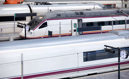 High-speed trains platforms in a railway station. Transportation