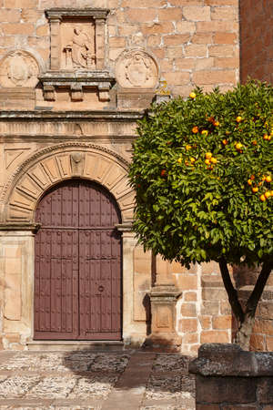 San Mateo church facade in Banos Encina. Jaen, Spain 스톡 콘텐츠
