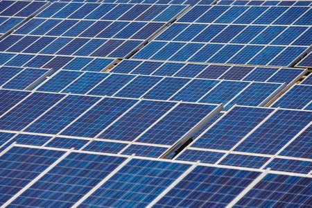 Solar panel plant. Sustainable renewable power energy and global warning