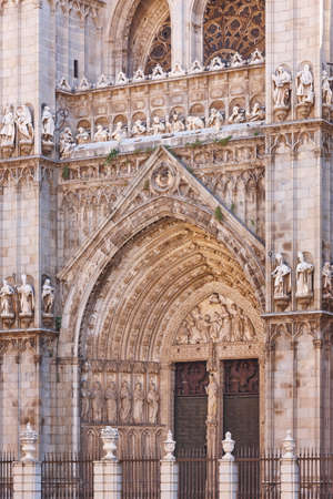 Toledo cathedral facade portico gothic style. Spanish culture heritage. Spain Stok Fotoğraf