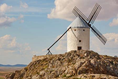 Traditional antique windmill in Spain. Consuegra, Toledo. Travel