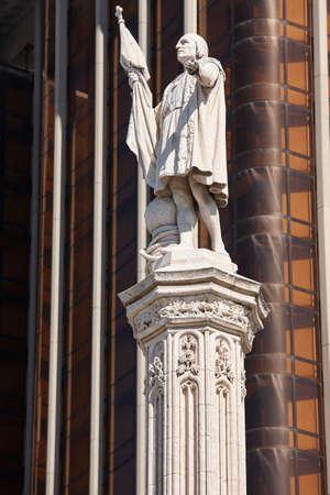 Madrid city center. Columbus plaza memorial. Travel Spain. Vertical Stok Fotoğraf