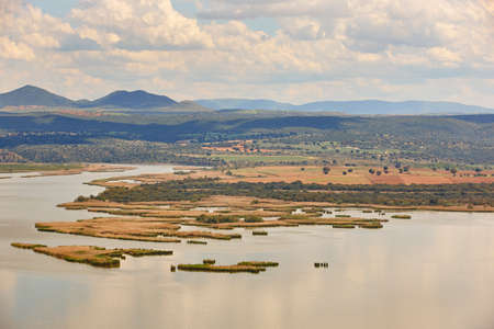 Spanish landscape with river meanders and marshes in Toledo. Spain Stok Fotoğraf