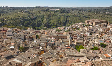 Traditional spanish medieval city of Toledo from a viewpoint. Travel Stok Fotoğraf