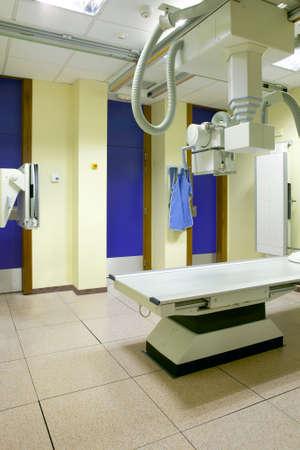 Hospital X-Ray area interior. Health center radiology area. Medicine
