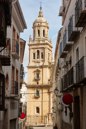 Jaen cathedral facade reinassence period. Travel in Spain. Vertical