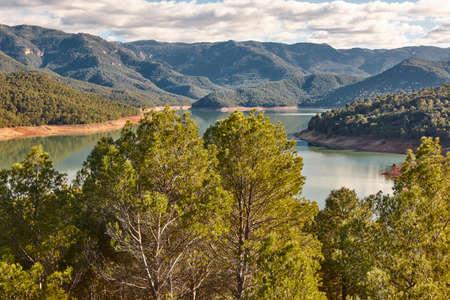 Reservoir and mountain landscape in Cazorla, Jaen. Tranco Beas. Spain