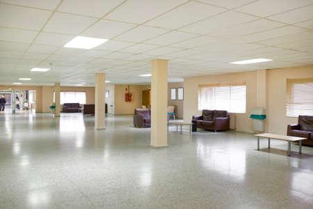 Retirement home interior. Rest area hall. Geriatric health center assistance