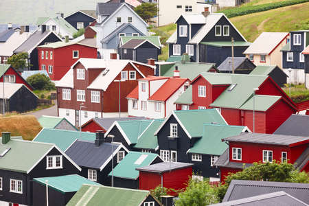 Traditional village with colored houses in Faroe islands. Denmark