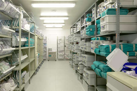 Hospital indoor storage room. Health center repository. Pharmaceutical